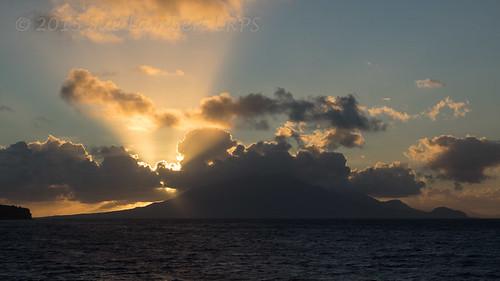 sea sky cloud sunrise sunbeams crepuscularrays oranjestad steustatius stkittsnevis caribbeancruise2015