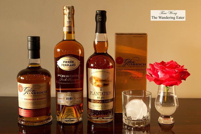 Glen Rarioch Founders Reserve Whiskey, Pierre Ferrand 1st Cru Cognac, Plantation Rum Original Dark
