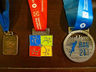 Three different years of BMO Vancouver half marathon