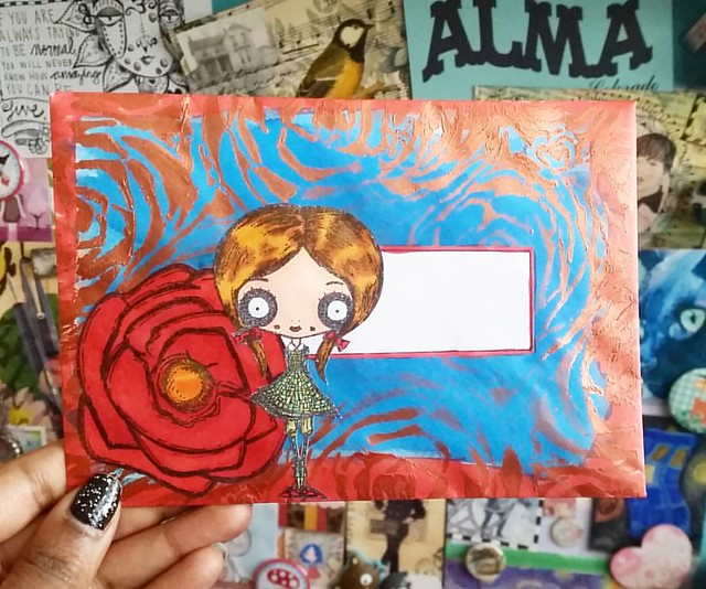 Listening to Adele and making some mailart on this lovely monday #mailartists #mailartmonday #octopodefactory #roses #dorothy #wizardofoz #stencils #IUOMA #mailart #snailmailing #snailmailrevival #colorcoordination #promarkers