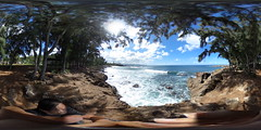 At Shark's Cove at the Pupukea Beach Park on the North Shore of Oahu, Hawaii  - A 360 degree Equirectangular VR