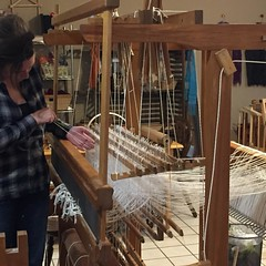 Lots of weaving at the shop yesterday!  Julia threaded the Glimakra for rugs.