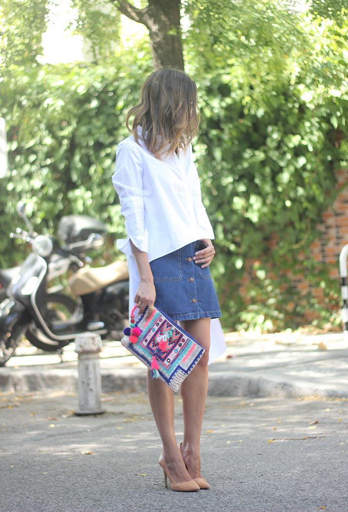 Long Shirt With Denim Skirt Summer Outfit 02
