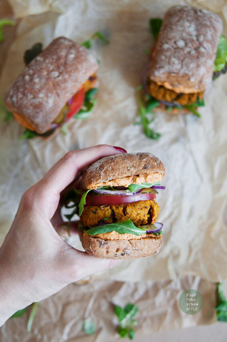 Vegan spicy hokkaido pumpkin burger