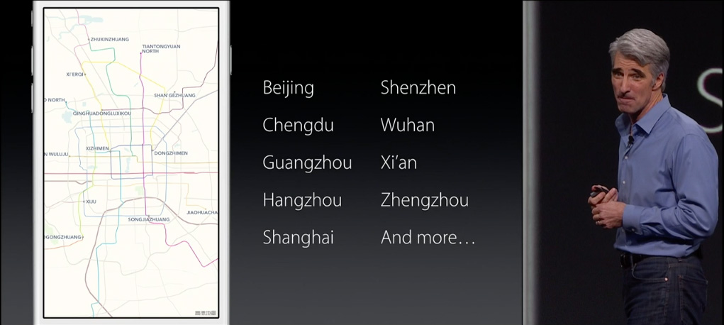 Craig Federighi presenting transit in China
