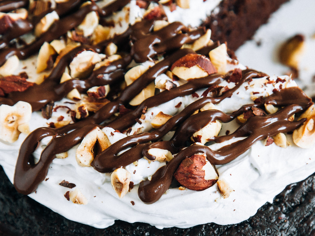 Chocolate-hazelnut cake with salted hot fudge