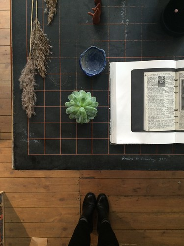 Vanishing Point boutique table with succulent and pottery Copenhagen