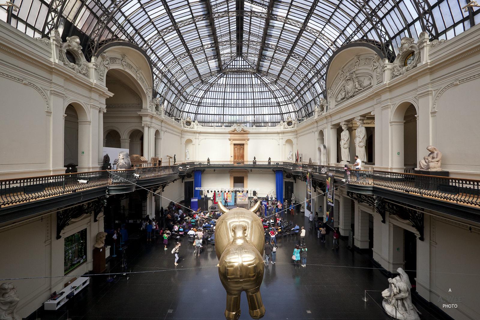 Under the glass-domed atrium