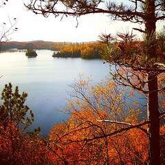 View across Flour Lake from the Ridge Run Trail, a little known Gunflint Trail bluff viewpoint that you reach by hiking our ski trails.  There are picnic tables on the bluff, so this makes a great fall hike with a stop for a snack or lunch at the mid-poin