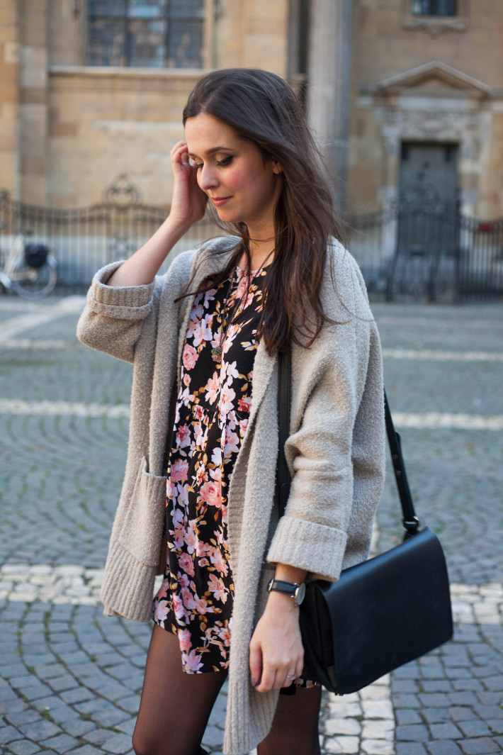 Outfit: Floral babydoll dress, oversized knit cardigan