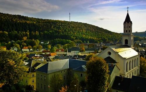 Blick über die Kleinstadt Elsterberg im Vogtland