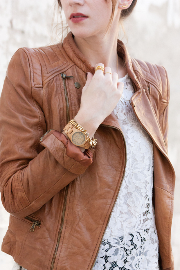 Leather Jacket, Jord watch, wood watch