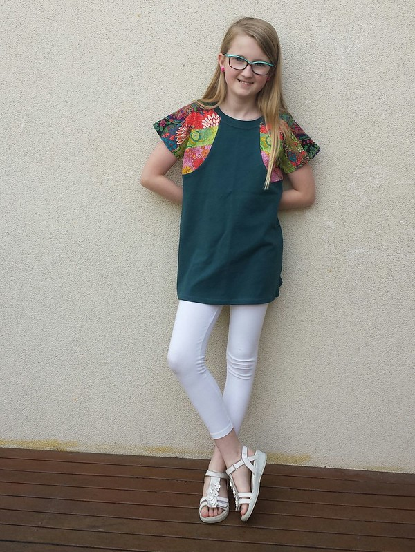 Figgys Stella tunic with knit body and pieced woven sleeves