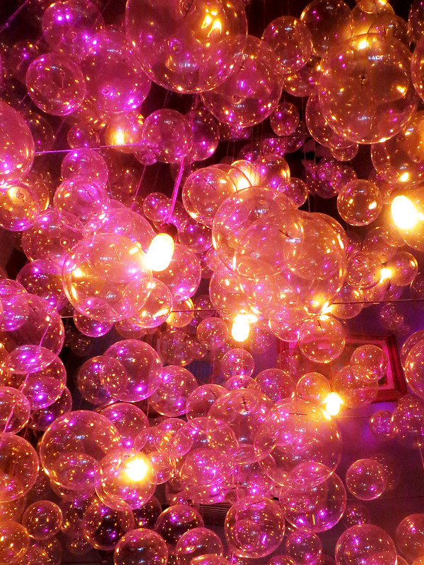 Pink Glass Bubble Lights, Unicorn Restaurant Interior, Photo by Sherrie Thai of Shaireproductions.com