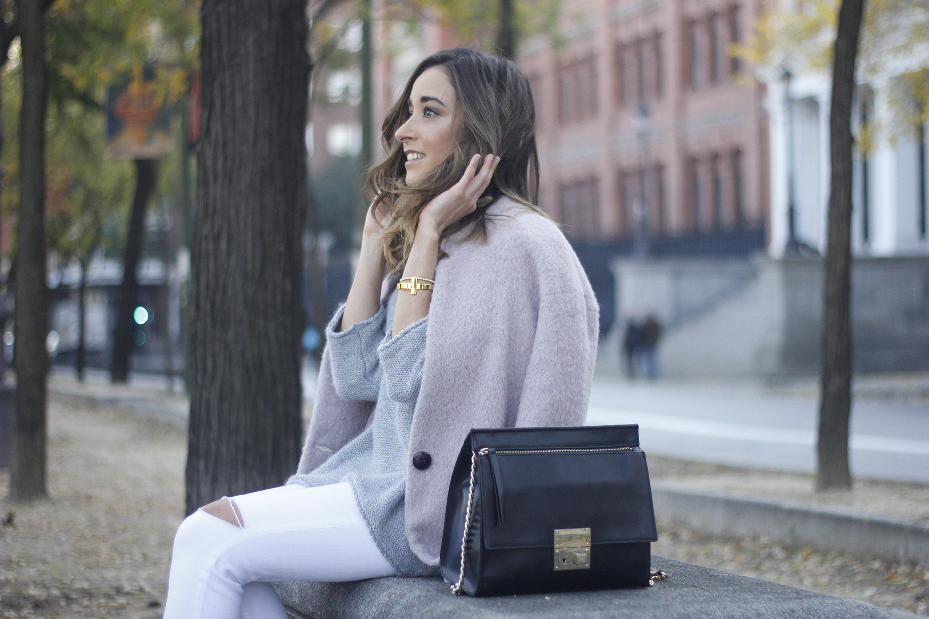 Tintoretto Pink Coat white jeans grey sweater outfit23