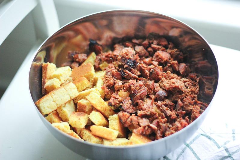 Sweet Potato Chorizo Cornbread Stuffing | Southern Soufflé