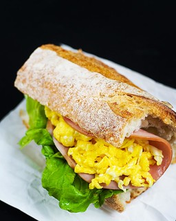 Baguette With lettuce Scrambled Egg And Ham