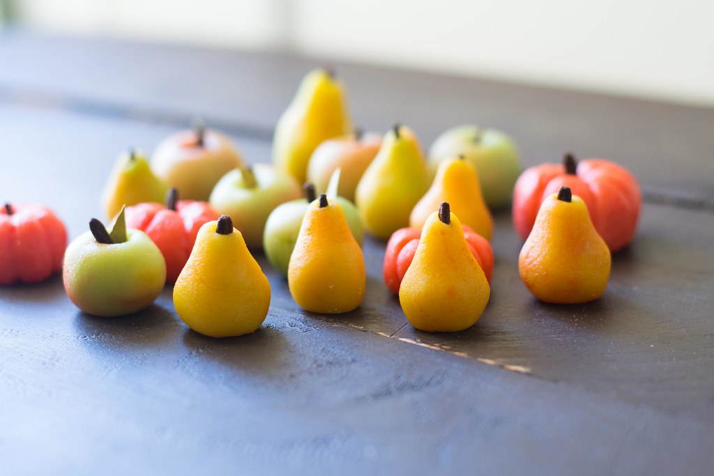 Marzipan Fruits made from almond paste and hand painted with all natural food coloring.