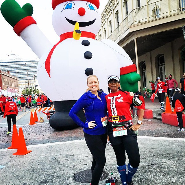 Ready to run @santahustle with @julie8228! We're totally awesome. It's all for the cookies! #santahustle #galveston #running #christmas #happyholidays