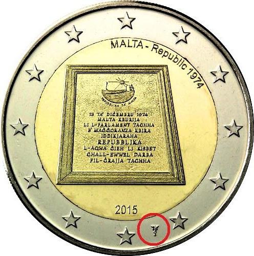 2 euro 2015 Malta cc.UNC Vyhlásenie Maltskej republiky + značka mincovne