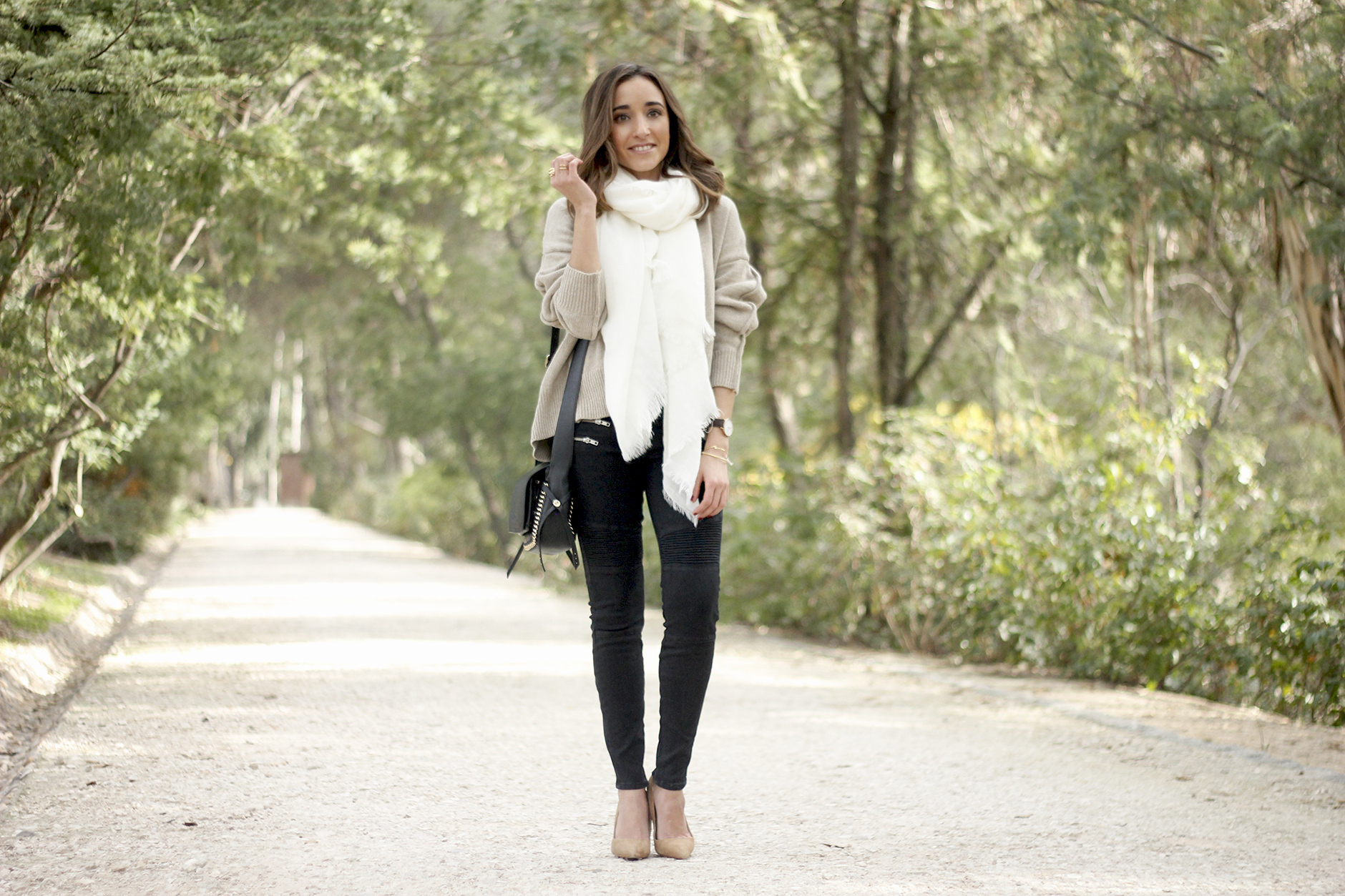 Beige Sweater Black Jeans Nude Heels White Scarf Coach Bag Outfit Style03