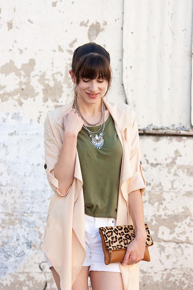 Lookbook Store Jacket, Peach Jacket, Army Green Tee, Statement Neckalce, White Shorts, Leopard Clutch