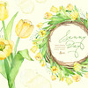 Sunny Day Wreath & Bouquet Tulips Flowers Clipart. Handpainted watercolor, wedding, spring floral, invitations, greetings, frames, yellow by octopusartis