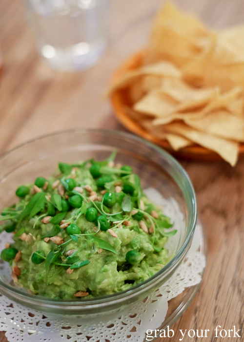 Pea guacamole with tortilla chips at Papi Chulo, Manly