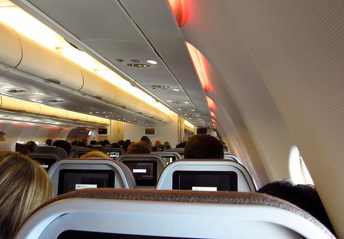 Interior del avión que nos llevó a España