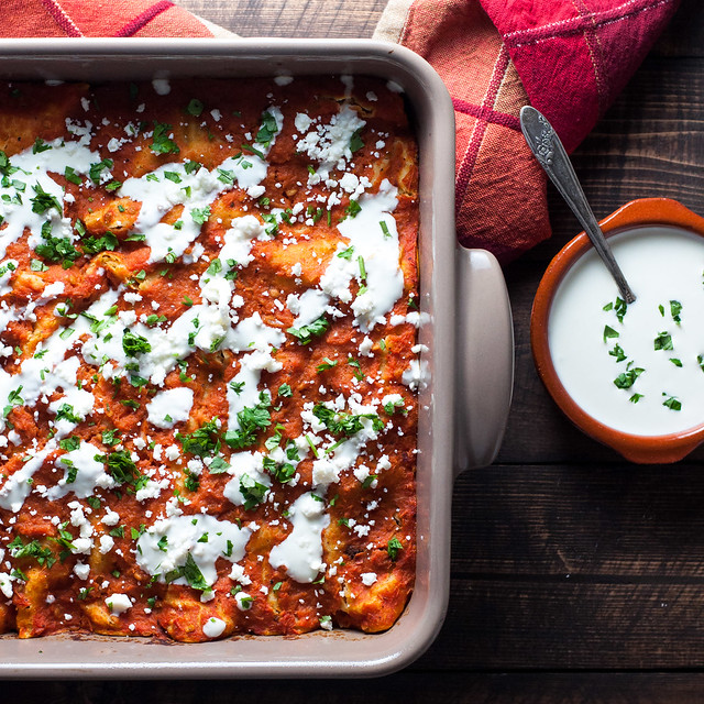 Healthy, gluten-free enchiladas with meaty mushroom filling (easily vegan)