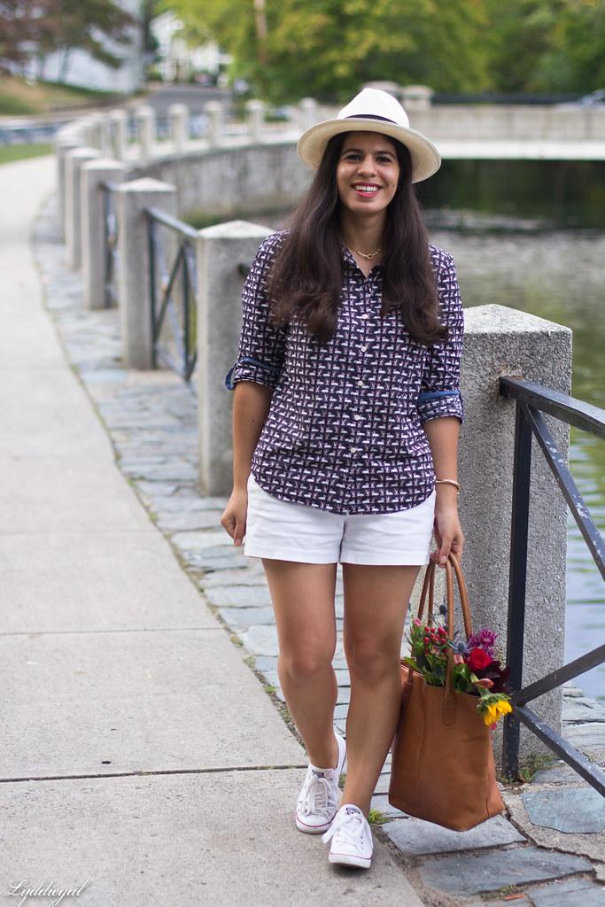 swan print shirt, white shorts, panama hat, converse.jpg