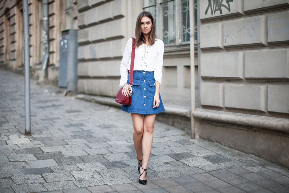 lace-up-front-top-A-line-skirt-street-style