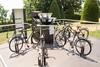 День 7. Олимпийский музей в Лозанне - есть и интерактивные уличные экспонаты - на этом велосипеде можно крутить педали, от чего будет крутиться картинка на зеркалах впереди.