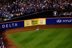 Michael Conforto fielding a Ball off the Left Field Wall - Kansas City Royals vs. New York Mets - 2015 World Series Game 5 - 11.01.15