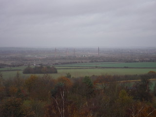 Stewartby and the listed chimneys of London Brick Company from Ampthill Park