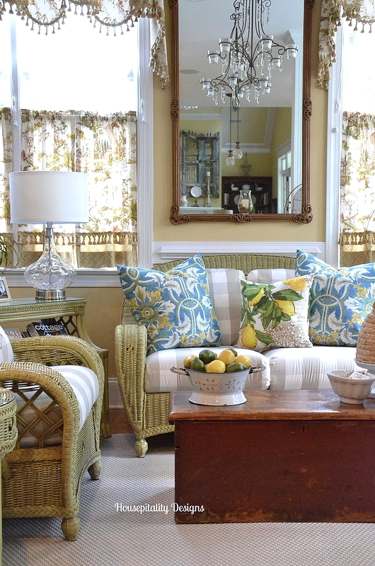 Sunroom dressed for Summer - Housepitality Designs