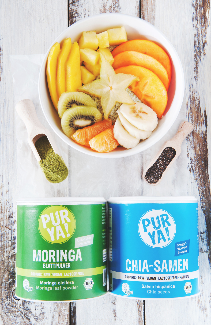 Tropical chia pudding with exotic fruits and moringa