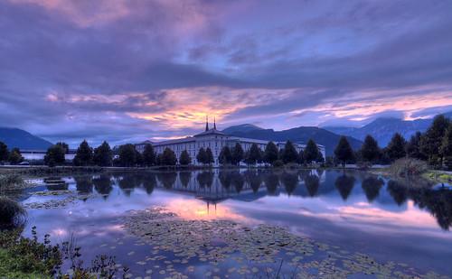 longexposure sunset sky water clouds alpes reflections landscape austria eau ciel nuages paysage nuit reflets hdr autriche montagnes muntain expositionlongue admontabbey sonyilca77m2