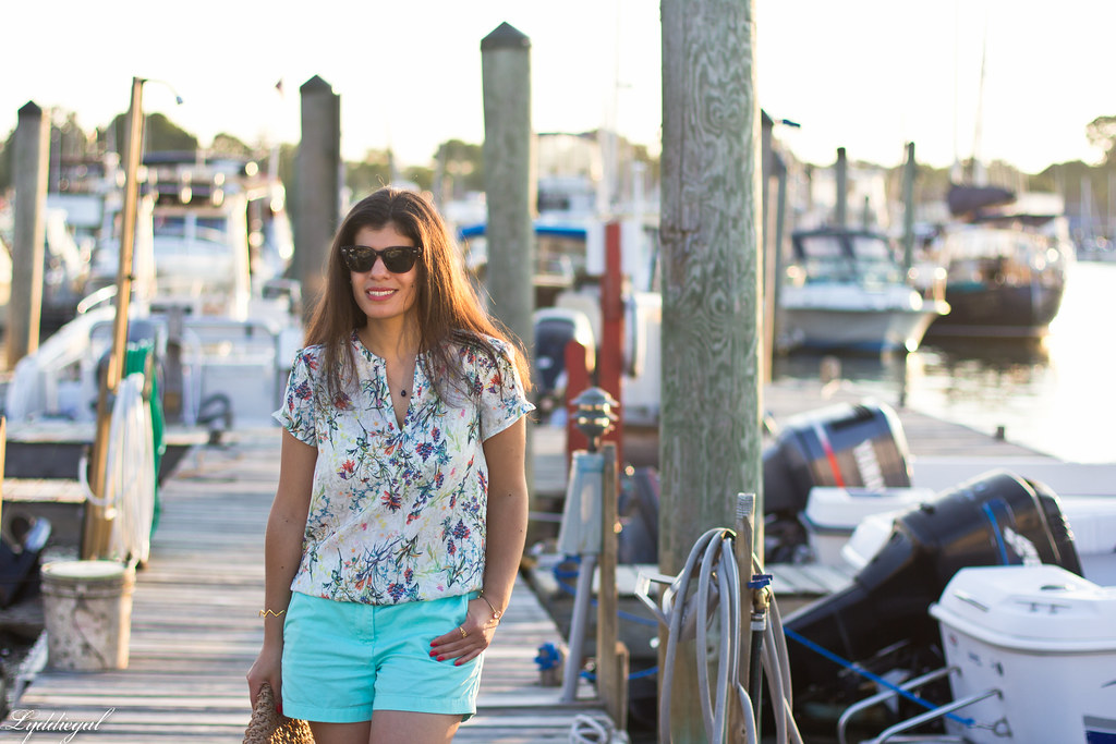 floral blouse, turquoise shorts, jeweled sandals-1.jpg