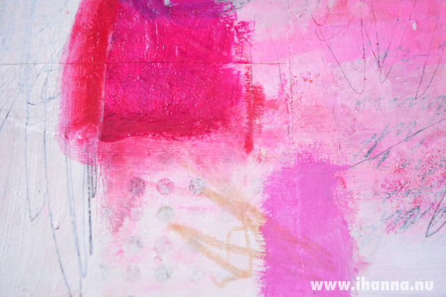 Detai 3 of Collage Painting in pink by iHanna