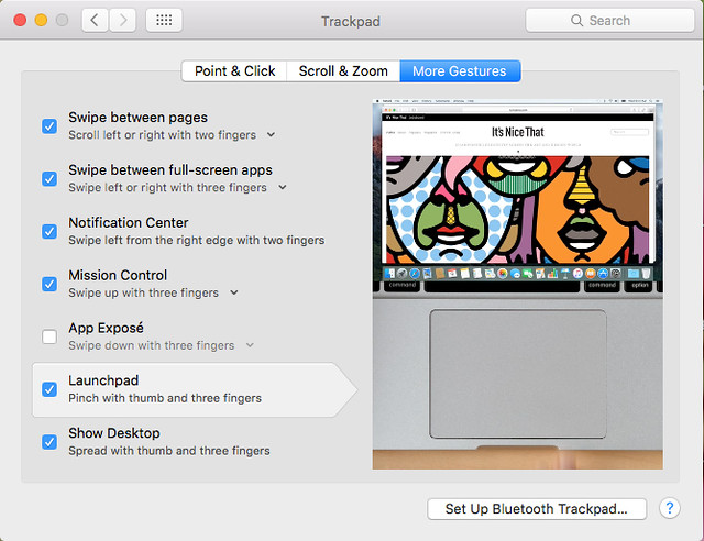 trackpad gestures Mac OS