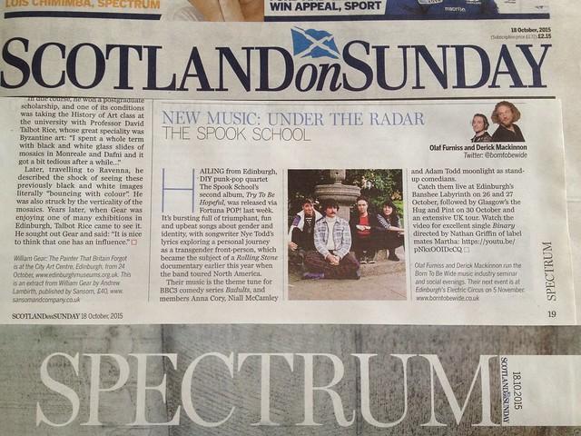 Olaf Furniss and Derick Mackinnon, Scotland On Sunday, Spectrum Magazine, 18 October 2015, The Spook School