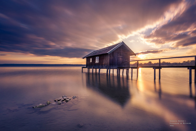Lake Ammersee at sunset