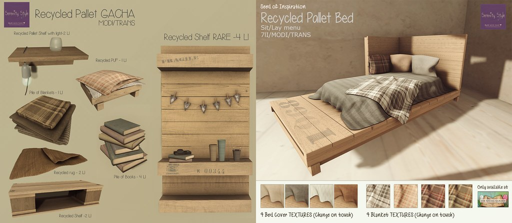 Serenity Style- Recycled Pallet GACHA COL.
