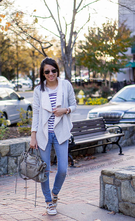 gray sweatshirt cardigan, striped top, jeans, oversized watch, canvas sneakers