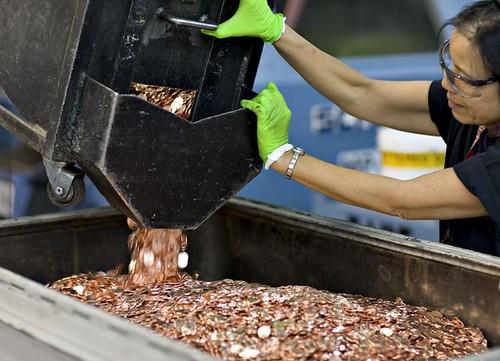 US Mint Denver penny bin