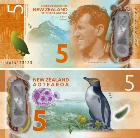 5 novozélandských dolárov Nový Zéland 2015, polymer