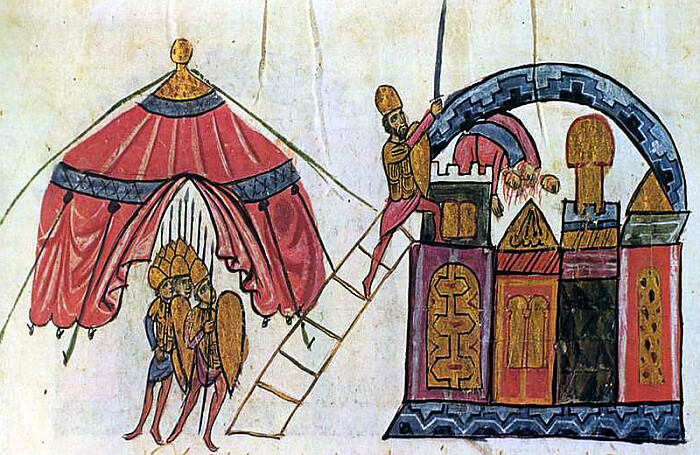 Fall of Antioch to the Byzantines under Michael Bourtzes, from Chronicle of John Skylitzes