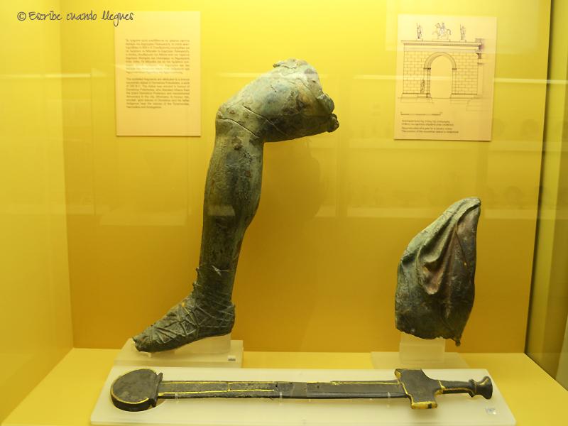 Pieza expuesta en el interior del museo del Ágora griega