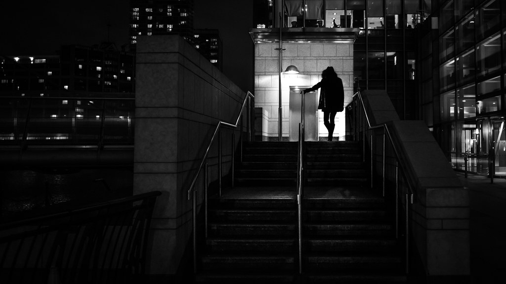 Girl going home at night, London, England picture